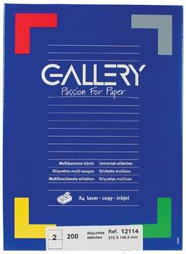 Gallery witte etiketten ft 210 x 148,5 mm (b x h), rechte hoeken, doos van 200 etiketten