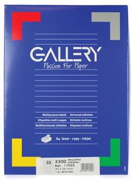 Gallery witte etiketten ft 70 x 25 mm (b x h), rechte hoeken, doos van 3.300 etiketten