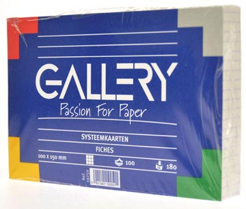 Gallery witte systeemkaarten, ft 10 x 15 cm, geruit 5 mm, pak van 100 stuks