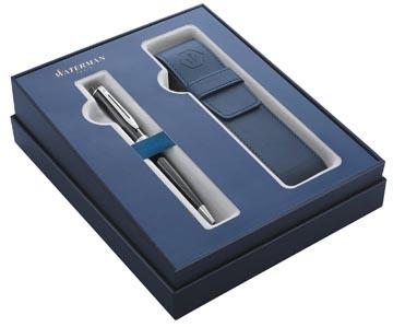 Waterman giftbox balpen Expert black met palladium detail + blauw penzakje