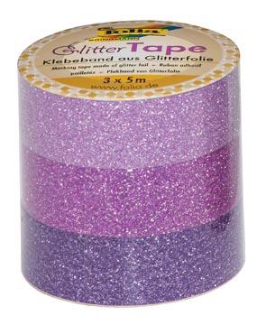 Folia glittertape roze en paars rolletje met 3 stuks