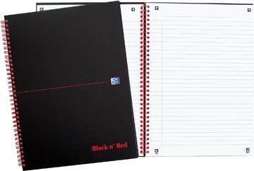 Oxford BLACK N' RED spiraalblok karton, 140 bladzijden ft A4, gelijnd