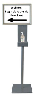 Desinfectiezuil met clicklijst, hoogte: 1,50 meter, ft clicklijst: A3