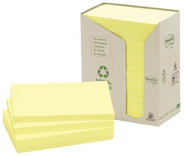 Post-it Notes gerecycleerd, ft 76 x 127 mm, geel, 100 vel, pak van 16 blokken