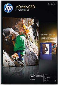 HP Advanced fotopapier ft 10 x 15 cm, 250 g, pak van 100 vel, glanzend