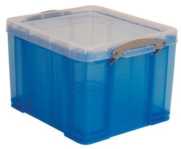 Really Useful Box opbergdoos 35 liter, transparant, blauw